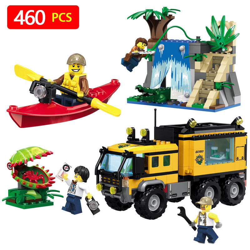 Compatible with LegoINGlys 460pcs Jungle Mobile Lab City 39064 model Figure building blocks Bricks toys for children 0367 sluban 678pcs city series international airport model building blocks enlighten figure toys for children compatible legoe