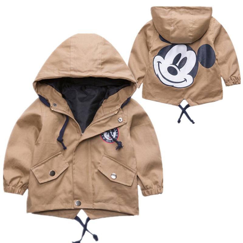 2018 модная куртка детская верхняя одежда с капюшоном детские толстовки для девочек и мальчиков милый Микки печати ветровка холст одежда для ...