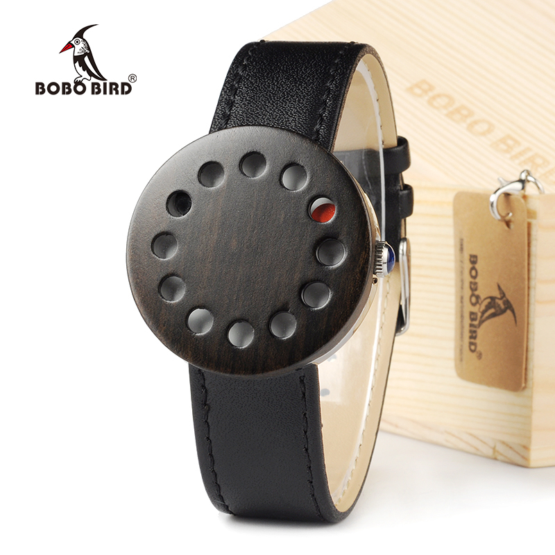 BOBOBIRD 12holes Design Wood Watches Mens Watches Top Brand Luxury Watch With Real Leather Straps as Christmas Gifts