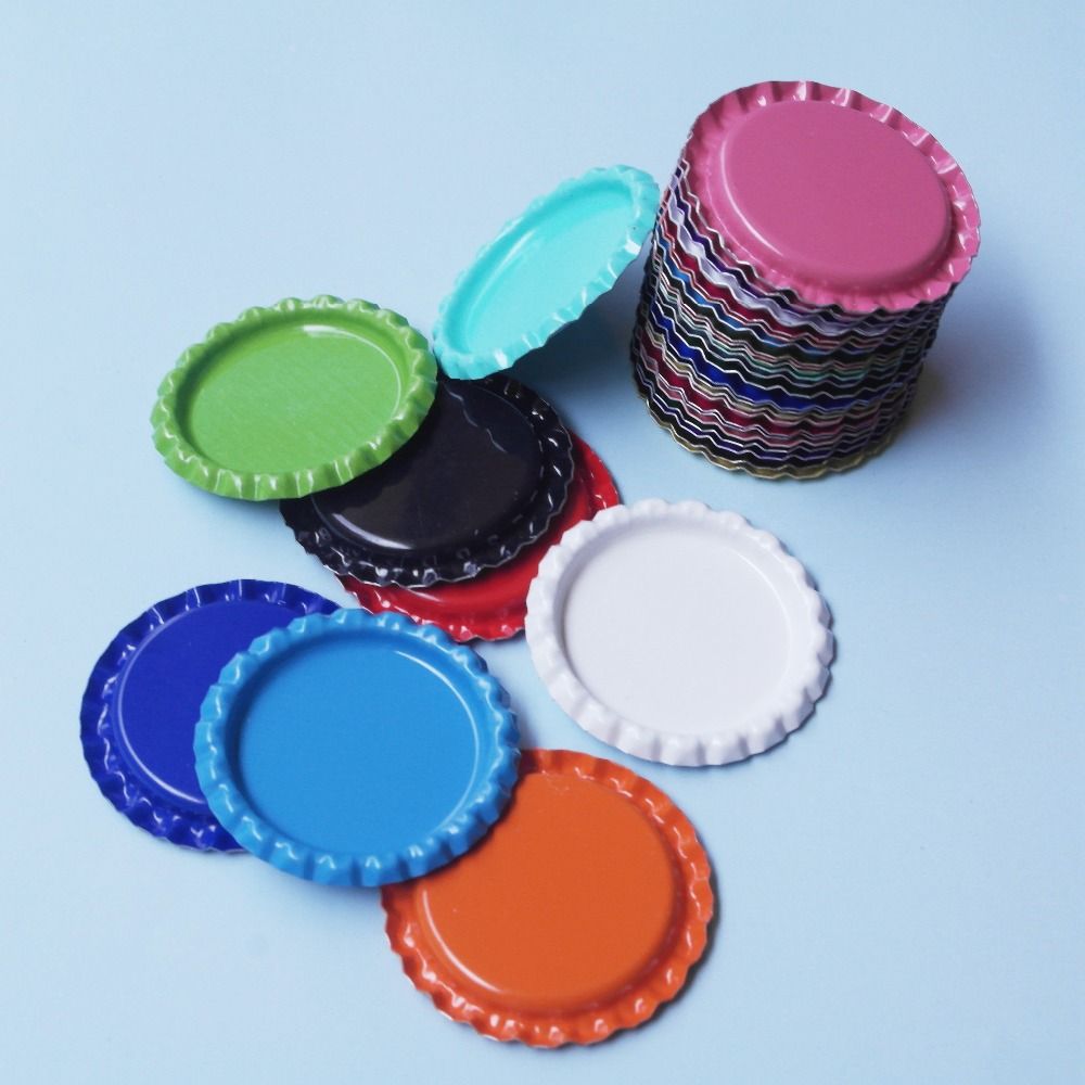25pcs 1'' Both Side Colored Round Flattened Bottle Caps Flat Bottlecaps For DIY Necklace Jewelry Accessories Hairbow Crafts