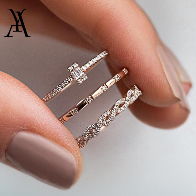 AY 3Pcs/Set Fashion Geometry Intersect Crystal Rings Set For