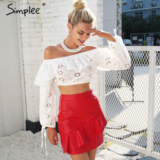 60f5818a320f Simplee Sexy off shoulder ruffles hollow out blouse Women long sleeve split tank  crop top blouse