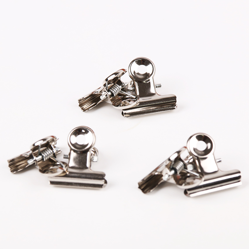 12PCS/lot Round Metal Grip Clips Silver Bulldog Clips Stainless Steel Ticket Clip Stationery Bills Metal Clamp Office Supplies