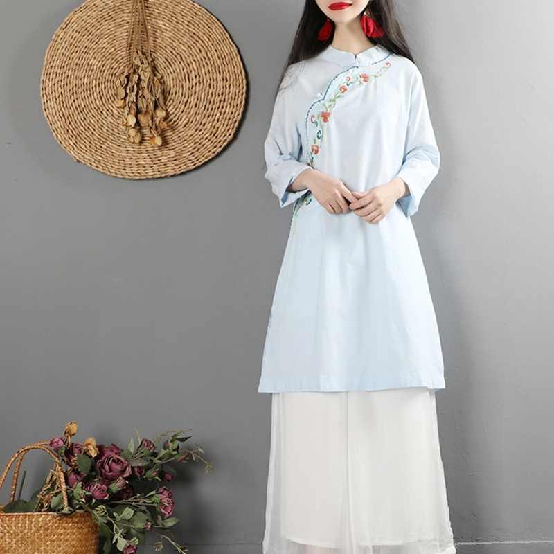 Trung Quốc Sườn Xám Cao Cấp Cho Nữ Retro Vintage Dài Áo Sơ Mi Trà Rời Vàng Trung Quốc Đầm Mùa Xuân 2019 Nữ Trung Quốc Cao Cấp TA1359