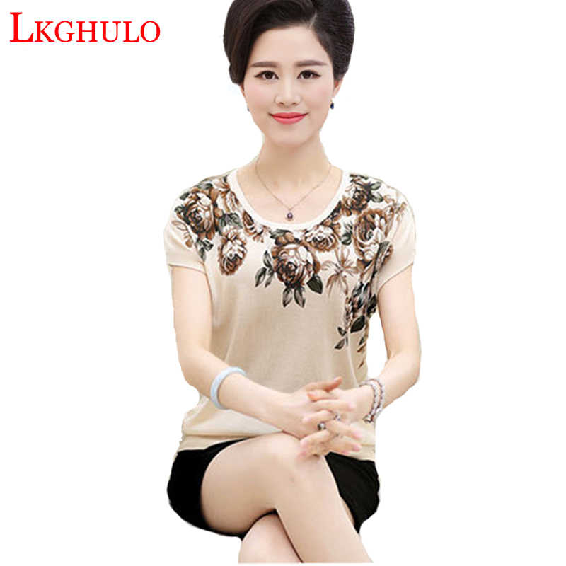 New 2018 Summer T Shirt Women Mother Clothing T-shirt Female Flower Short-Sleeve Middle-age Women Loose Plus Size Shirt  A192