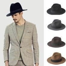 2 большой Размеры шерсть Для мужчин фетровая шляпа Федора для джентльмена шляпа с широкими полями Топ фетровые шляпы Панамы сомбреро Кепки Размеры окружности головы 56-58, Размеры 59-61 см