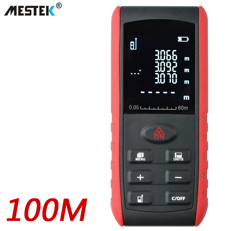 все цены на MESTEK Laser Rangefinder range finder Digital Laser Distance Meter Laser roulette 40m 60m 100m Ruler Trena Tape Measure Tools онлайн