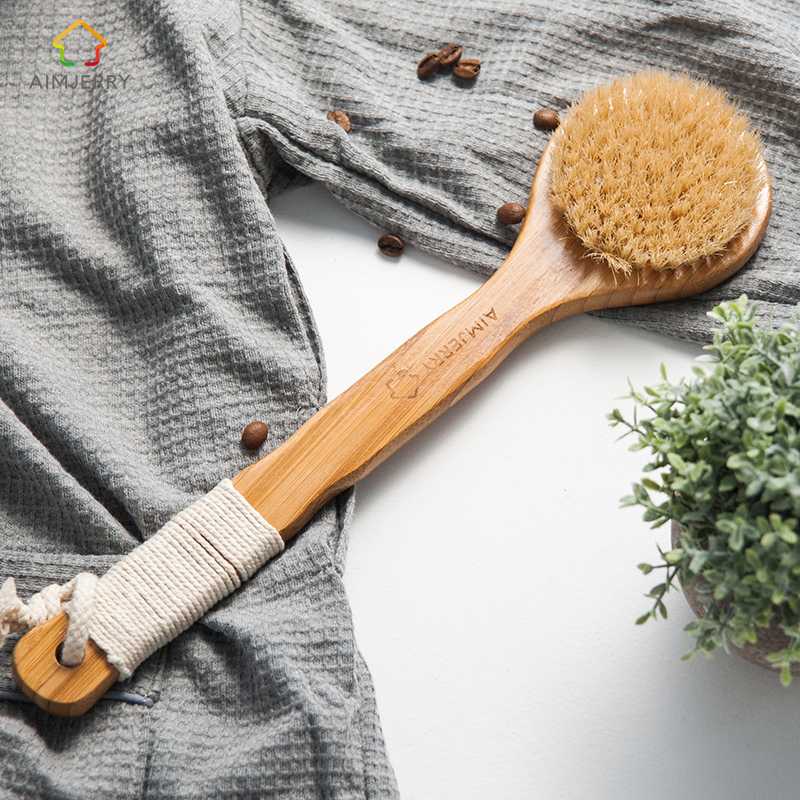 Aimjerry Natural Bristle Long Anti-Slip Handle Wooden Body Maasage Helsepleie Bath Brush for bath body scrub