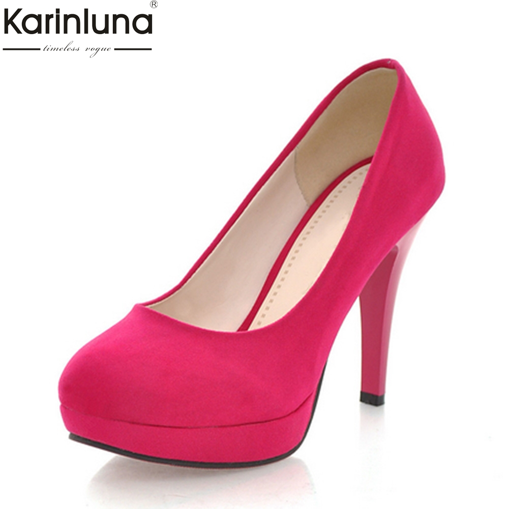 KARINLUNA 2018 Plus Size 32-43 Platform Flock Spring Pumps womens Shoes Thin High Heels Office Lady Shoes WomanKARINLUNA 2018 Plus Size 32-43 Platform Flock Spring Pumps womens Shoes Thin High Heels Office Lady Shoes Woman