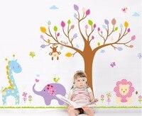 جديد مزدوج طبقة للإزالة كارتون الأطفال موضوع الفيل الأسد تزيين المنزل ملصقات الحائط غرفة الأطفال جدار الشارات خلفيات
