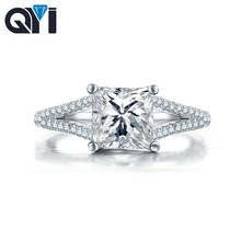 QYI  Women Engagement Jewelry 925 sterling Silver 1.6 ct Cushion Cut Simulated diamond Female Wedding Finger Flower Rings