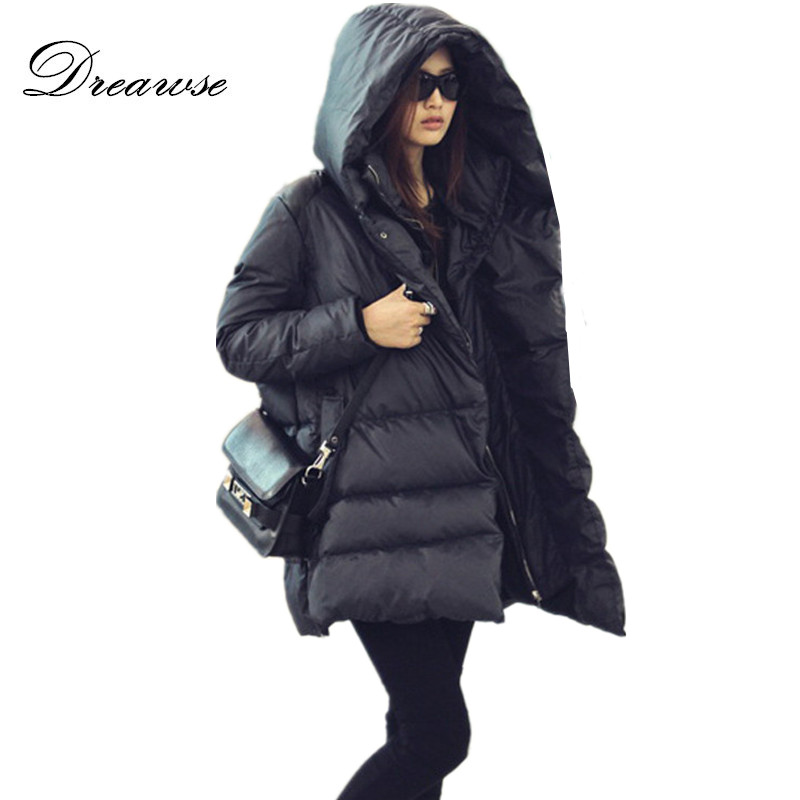 Dreawse Plus Size 5XL Winter Women Medium-Long Hooded Casual Parkas Coat Thick Duck Down Warm Jacket Casaco Feminino MZ1182 2015 new hot winter thicken warm woman down jacket coat parkas outerwear hooded loose straight luxury brand long plus size xl