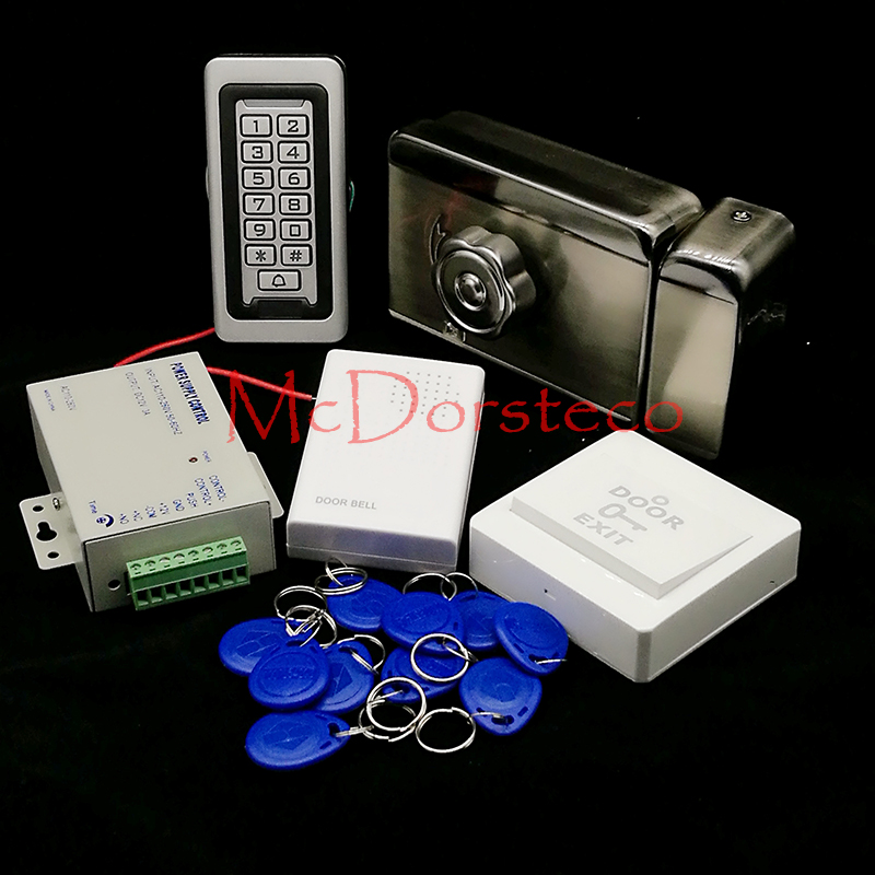 Brand New In Stock Full Waterproof Metal RFID Card Code Keypad Door Access Control Kit Electric Door Rim Lock wholesale new white rfid card reader code keypad door access control system electric strike door lock in stock free shipping