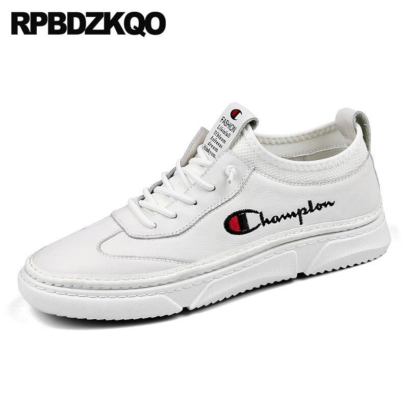 Broderie Hommes Véritable Blanc Mode De blanc Luxe Décontracté Européenne Piste Bout Cuir Chaussures Marque Skate Espadrilles En Noir Formateurs Rond kiOZPXTu