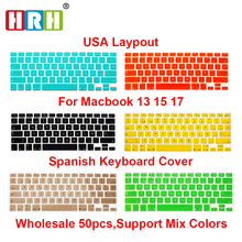 1pc New Spanish Silicone US Keyboard Cover Skin Cover Protective FILM  Protector for Apple MacBook Pro Air With Retina 13 15 17 50pcs lot flowers design silicone us keyboard cover keypad skin protector for apple mac macbook pro 13 15 17 air 13 retina 13
