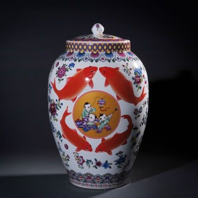 Jingdezhen ceramic barrel goldfish ricer box barrel with cover tank it oil cylinder can save m kimchi cylinder