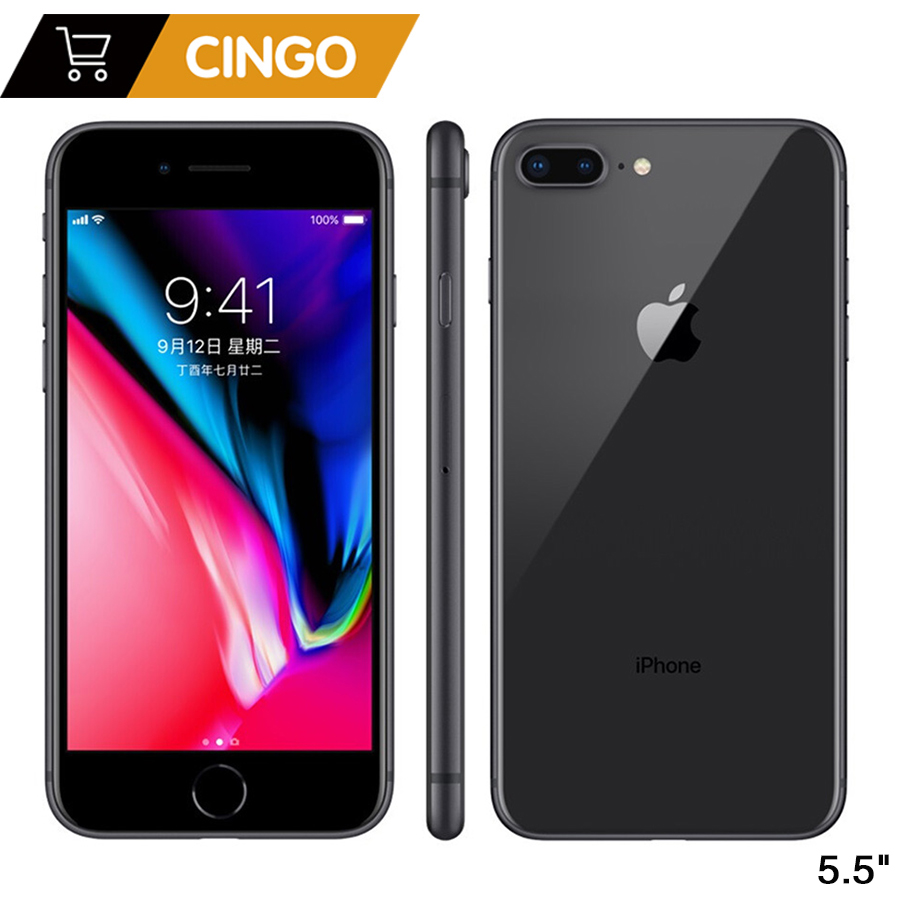 Original Apple iphone 8 Plus Hexa Core iOS 3 GB RAM 64-256 GB ROM 5.5 pouces 12MP empreinte digitale 2691 mAh LTE téléphone Mobile
