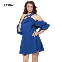 FGHGF Robe Femme Ete 2017 Femmes Robes Bleu Adorable Sexy O Anneau Détail Ruffle Robe D'été Casual Halter Mini Crayon robe