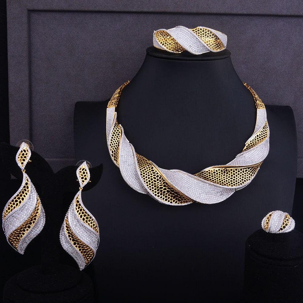 GODKI Luxury Twist Women Nigerian Wedding Bride Cubic Zirconia Necklace Dubai 4PCS Jewelry Set Jewellery Addiction