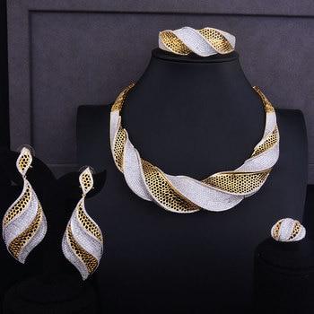 d9f357f5e1a0 GODKI lujo Bowknot brazalete anillo conjuntos de moda Dubai de plata nupcial  conjuntos de joyas para mujeres boda brincos párr como mujeres 2018