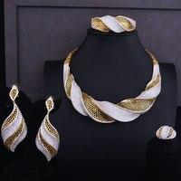 GODKI Роскошные твист Для женщин нигерийской свадьбы невеста кубического циркония Цепочки и ожерелья Дубай 4 шт. набор ювелирных украшений на