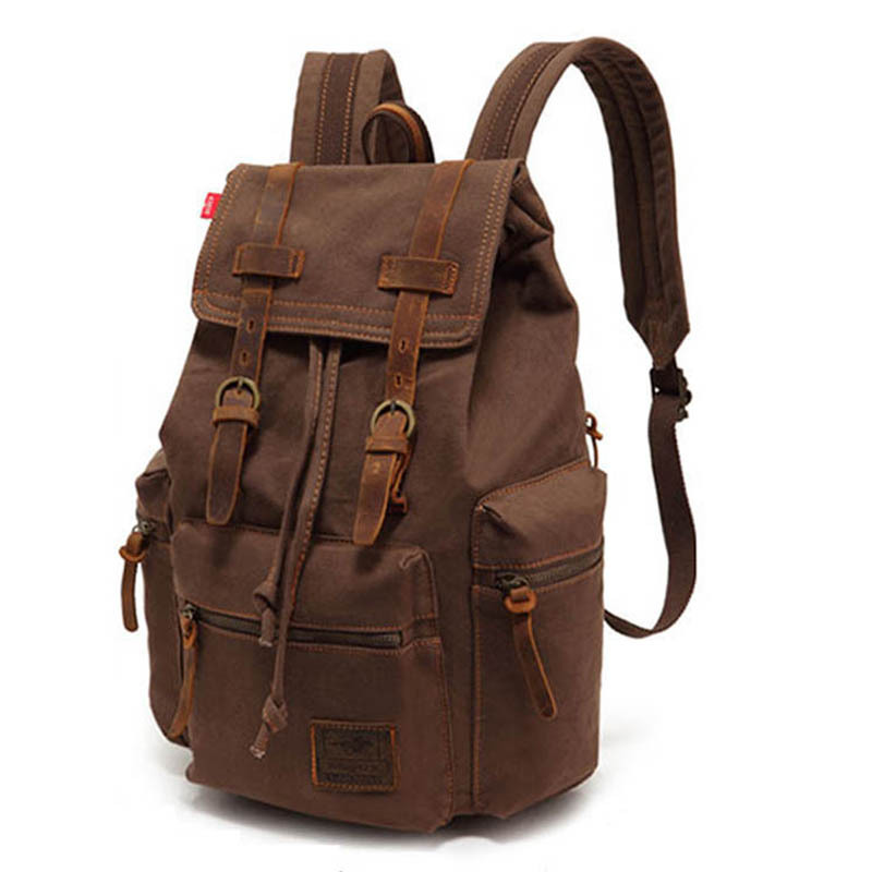 ФОТО 2017 New Casual Canvas Men Backpack Retro Vintage Male Students School Bags Outdoor Men Travel Bags M0004