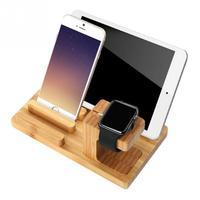 Multi-Функция натурального бамбука Вуд Charge charging Dock Колыбели подставки, держатели для iPhone 6 6 S Plus для Я Часы для Ipad