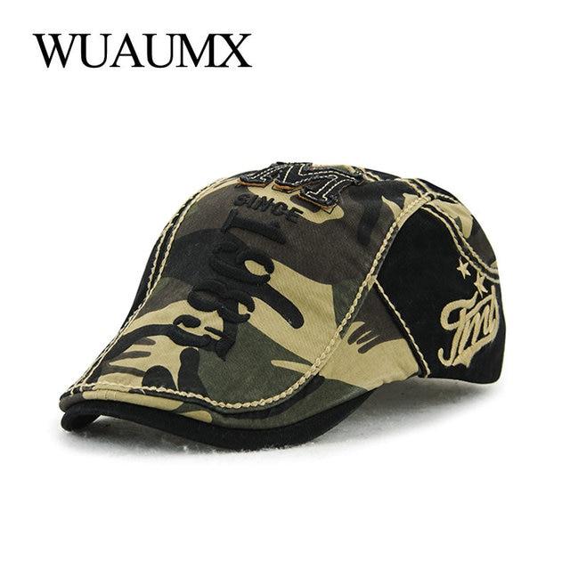 Gorros de boina de camuflaje Retro de marca Wuaumx para hombres y mujeres  visera de algodón 9465d8799ed6