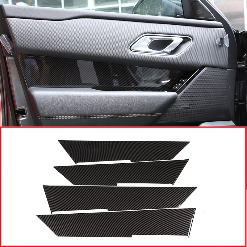 Carbon Fiber Style Car Interior Door Panel Decoration Cover Trim For Land Rover Range Rover Velar 2017-2018 Car Accessories 4pcs 4pcs carbon fiber style abs plastic inner door decoration cover trim for landrover range rover sport rr sport 2014 2017 new