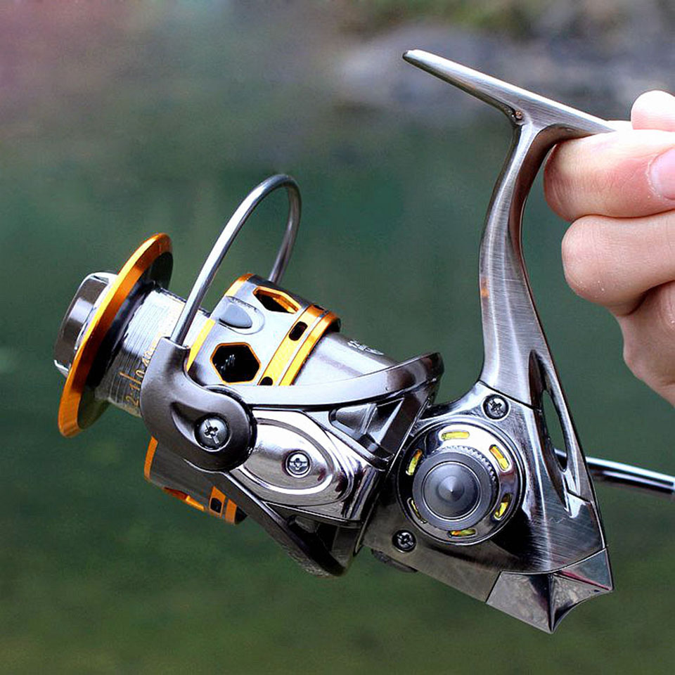 цена на 12+1BB 5.2:1 Full Metal Spinning Fishing Reel Super AMG3000 & 4000 Series Fishing Wheel Sea Reel Carp Fishing Tackle