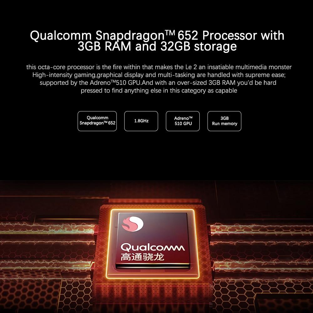 Оригинальный LeEco Letv S3 X522 Le2 X526 X520 3 ГБ ОЗУ 32 ГБ/64 ГБ Snapdragon 652 смартфон 5,5 дюймов Восьмиядерный 3000 мАч 4G мобильный телефон - 4