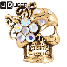 Punk Vintage Brooch For Women/Men Antique Gold Color Flower Halloween Skull Brooches Pins Collar Accessories Jewelry px16