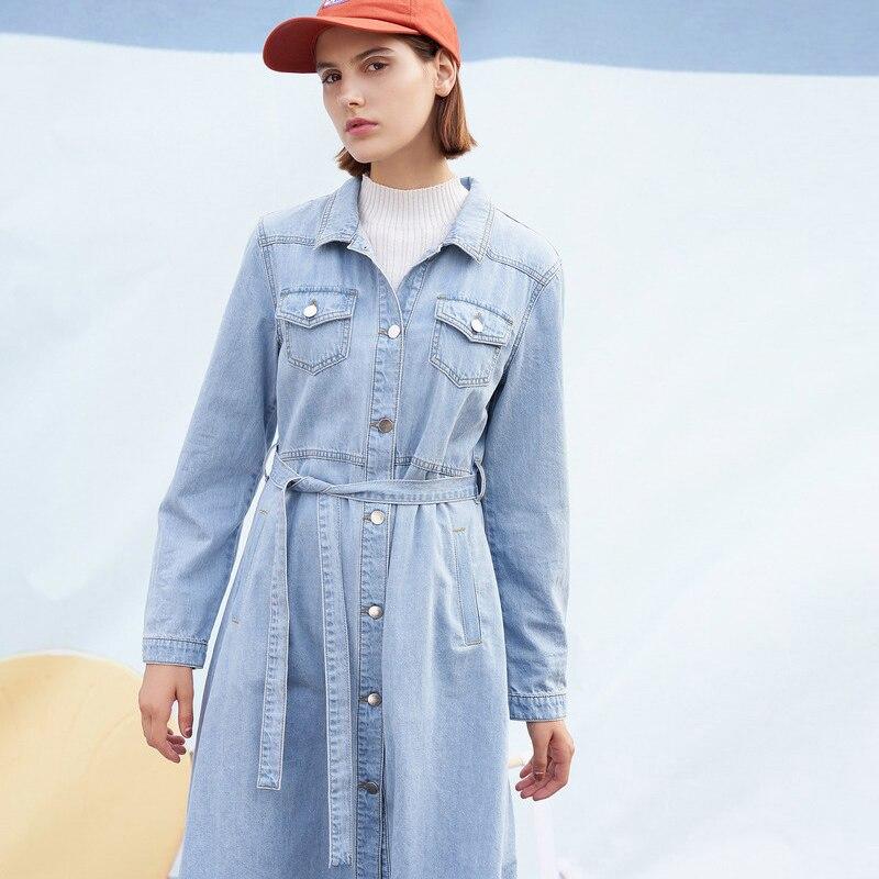 Toyouth джинсовые рубашки платье с длинным рукавом однобортный Кнопка отложной воротник Тонкий Женские повседневные джинсы платья поясом