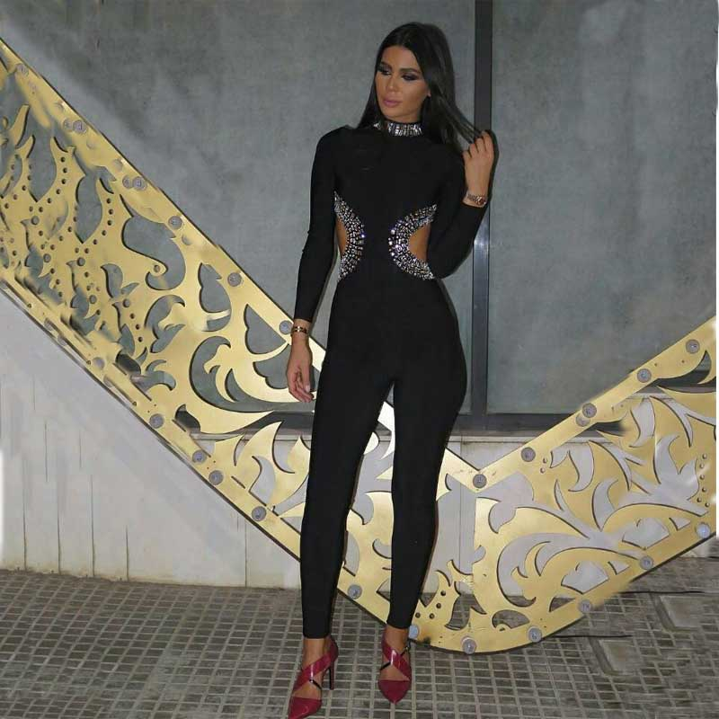 wholesale 2018 new Jumpsuits Black Hollow Out Long sleeves Beading High-end luxury Leisure bandage Rompers (H1504)