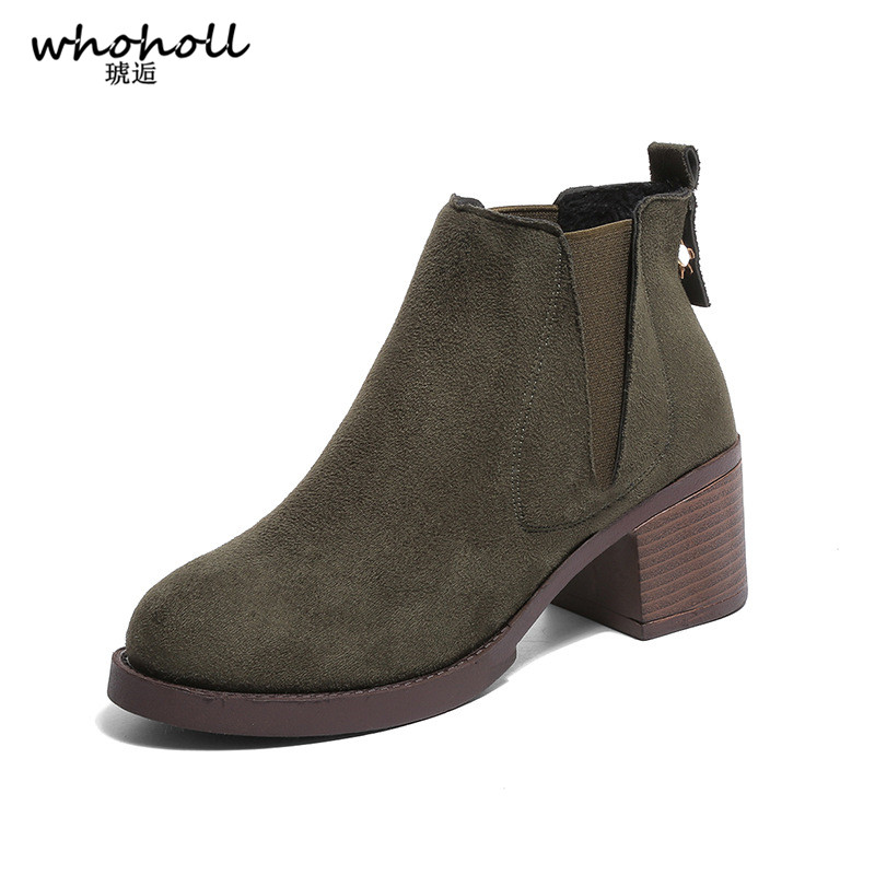 Whoholl Brand Autumn Winter Boots Female Single Ankle Boots Suede Female British Style Martin Shoes Short Cylinder Scrub Shoes martin new winter with thick british style short canister female fall side zipper boots