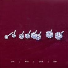 Крошечные круглые 925 пробы серебряные свадебные серьги-гвоздики с кубическим цирконием для женщин, модные мужские маленькие серьги с фианитами, рождественские украшения