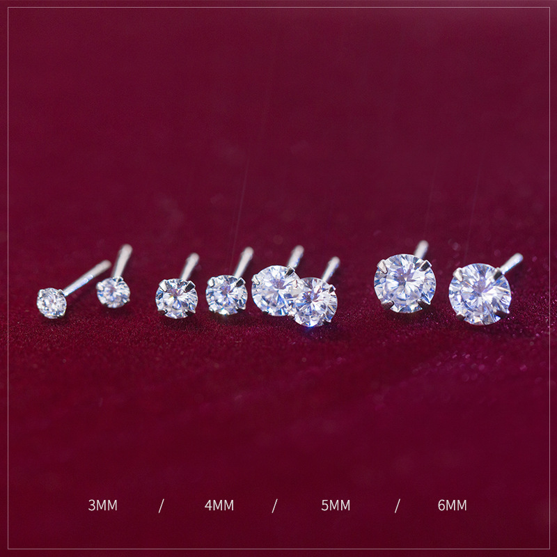 Tiny Round Cubic Zirconia 925 Sterling Silver Wedding Studs Earrings For Women Fashion Mens Small CZ Earings Christmas Jewelry