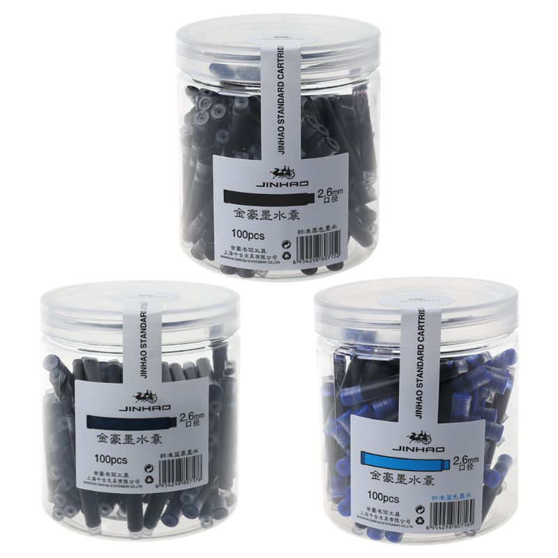 <font><b>100pcs</b></font> Jinhao Universal Black Blue Fountain <font><b>Pen</b></font> Ink Sac Cartridges 2.6mm <font><b>Refills</b></font> School Office Stationery J image