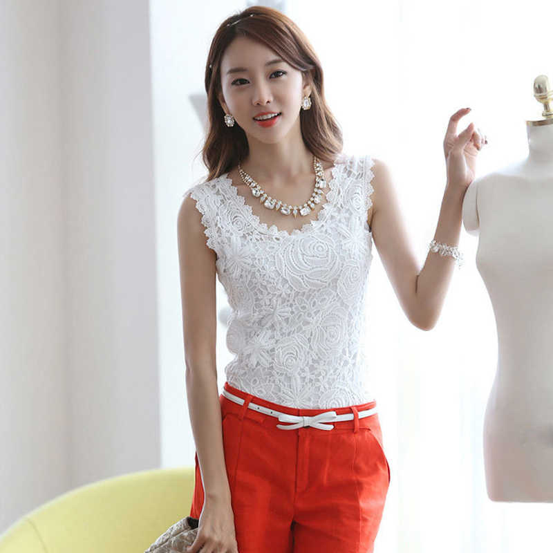 Summer Women Blouse Vintage Lace Sleeveless Vest White Black Crochet Casual Shirts Tops Plus Size S M L XL XXL
