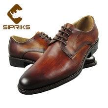 554a6611a5ba9b Sipriks De Luxe Marque Hommes Cousu Goodyear Chaussures Itlaian Main Patine  Robe Chaussures En Cuir de Vache Jaune Brun Social C..