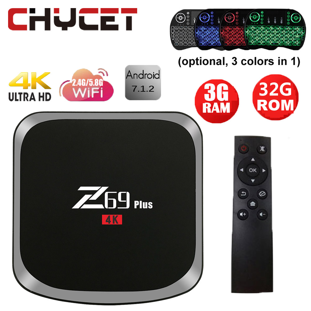 Chycet Z69 Plus Smart Tv box Android 7.1 TV Box Amlogic S912 VP9 H.265 4K 3G 32G Mini PC IPTV WiFi LAN BT Media player PK Z28