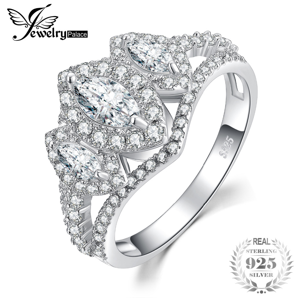 JewelryPalace 3 Stone Engraving Ring Past Present Future Marquise Cubic Zirconia Engagement Rings 925 Sterling Silver Jewelry футболка print bar past future now