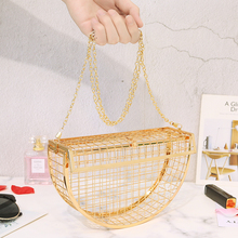 Fashion Women Bag Evening Bags Clutch Metallic Hollow Out Banquet Party Shoulder & Crossbody Bags Wedding Semicircular Cage Bag цены