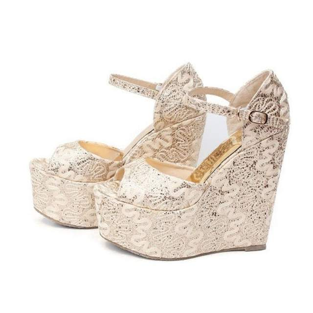 8fb9db07d4d5 2018 Plus Small Size 30-43 Gold Summer Style Sexy Wedges High Heels Sandals  for