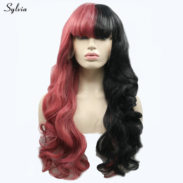 Sylvia Cosplay Black Red Wig With Bangs Soft Long Wavy Hair Heat