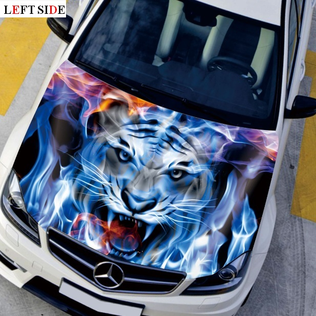 left side car stickers and decals fast shipping car cover fire tiger engine hood stickers cool. Black Bedroom Furniture Sets. Home Design Ideas