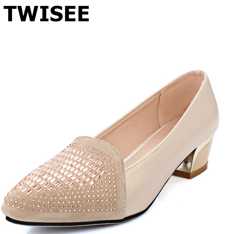 ФОТО Crystal Pointed Toe chaussure femme women high heels shoes med heels 5 cm Rubber summer pumps pu leather woman casual shoes