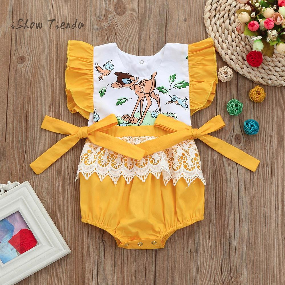 Newborn Toddler Infant Baby Girls Romper Floral Cartoon Deer Lace Sliders Kids Outfit