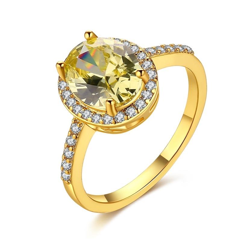 Jenia Romantic Design Champagne Zircon Finger Rings Gold Color Simple Original Ladies Engagement Jewelry CKZCR452