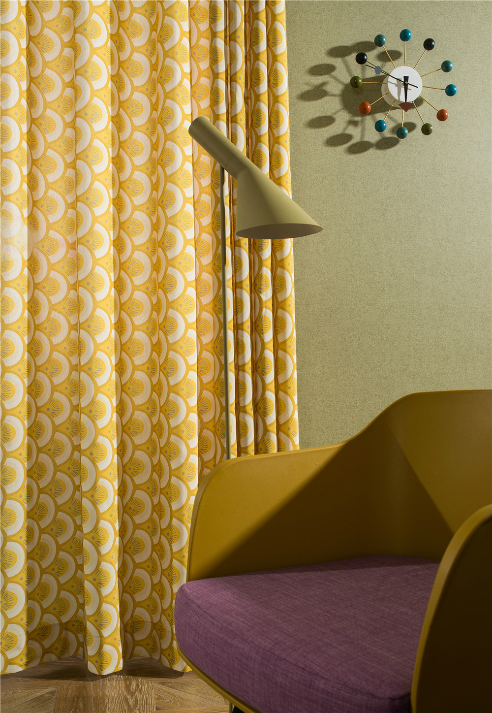 Yellow Printing Curtains For Living Room Embroidered